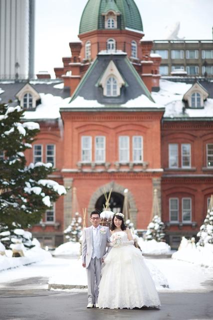 前撮り結婚写真 赤レンガ