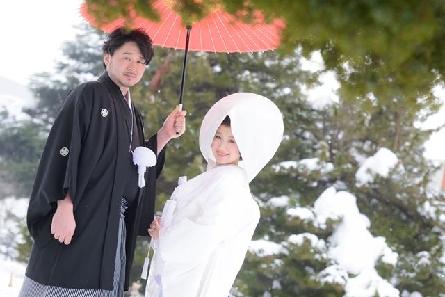 札幌雪の白無垢撮影
