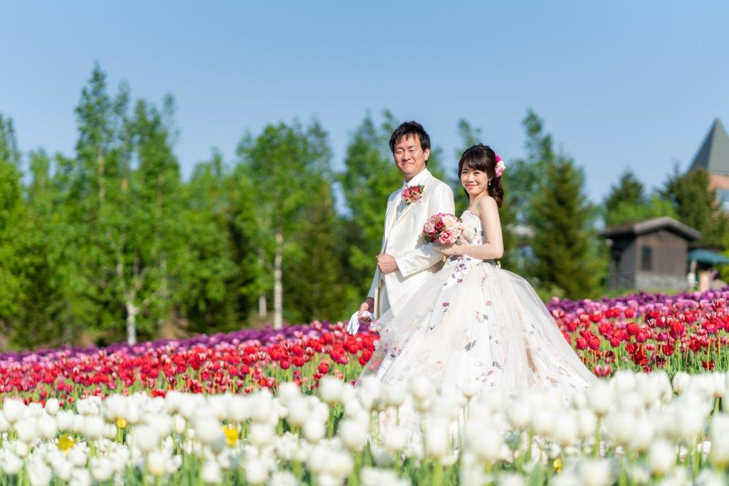北海道滝野すずらん公園 チューリップ畑 前撮りオトナフォト